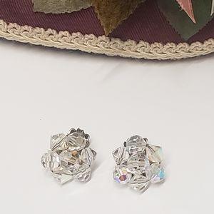 Vintage Glass Crysyal Clip in Earrings